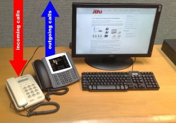 Desk with Aastra 6739i IP phone and a normal phone